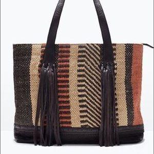 Zara Jute Leather Fringe Tote Traveler Shopper Bag